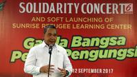 Mendes PDT, Eko Putro Sandjojo memberikan sambutan saat menghadiri acara Penggalangan dana di Jakarta, Selasa (12/9). Acara tersebut bentuk simpatik terhadap kekerasan yang melanda etnis Rohingnya di Myanmar. (Liputan6.com/Johan Tallo)