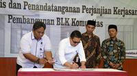Kementerian Ketenagakerjaan melakukan penandatanganan perjanjian kerjasama penerima bantuan pembangunan Balai Latihan Kerja (BLK) Komunitas di ruang Tridarma