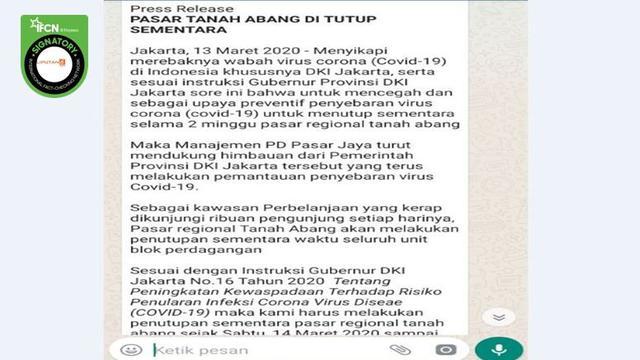 Cek Fakta Pasar Tanah Abang Dikabarkan Tutup Sementara Karena Covid 19 Ini Faktanya Cek Fakta Liputan6 Com
