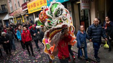 Seorang peserta memainkan Barongsai saat menyusuri Chinatown selama festival budaya perayaan Imlek di New York City (16/2). Warga Tionghoa bersama berbaur dengan masyarakat sekitar turun ke jalan memadati kawasan Chinatown. (Drew Angerer/Getty Images/AFP)
