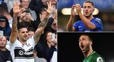 Striker Fulham, Aleksandar Mitrovic, bersama gelandang Chelsea, Eden Hazard, menjadi pimpinan sementara daftar pencetak gol terbanyak Liga Inggris. Berikut top scorer Premier league hingga pekan keenam. (Kolase foto-foto AFP)