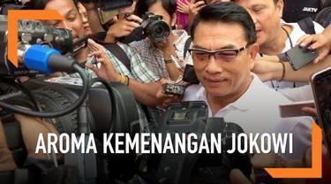 Ketua Harian TKN, Moeldoko, mulai mencium aroma kemenangan Jokowi-Ma'ruf. Walau begitu, Moeldoko belum membocorkan perihal deklarasi kemenangan.
