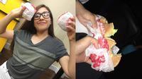 lihat cara wanita ini selundupkan burger ke bioskop (foto: Facebook/hudzaifah.husna)