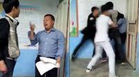 Perdebatan di dalam kelas berujung kepada pengeroyokan guru oleh murid. Mereka bahkan menggunakan bagku kursi sebagai senjata.  (Shanghaiist)