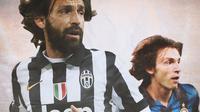 Ilustrasi - Andrea Pirlo Juventus dan Inter Milan (Bola.com/Adreanus Titus)
