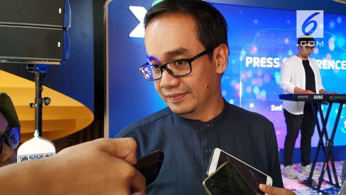 Group Head Commercial GTM XL Axiata, Rahmadi Mulyohartono, saat ditemui pada jumpa media di Jakarta, Kamis (2/5/2019). (Liputan6.com/ Andina Librianty)