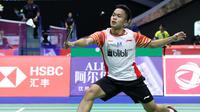 Tunggal putra Indonesia Anthony Sinisuka Ginting di Piala Sudirman 2019. (twitter.com/INABadminton)