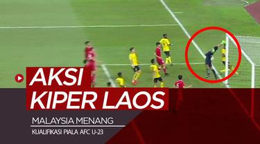 """Berita video Malaysia menang di Kualifikasi Piala AFC U-23 juga berkat """"andil"""" kiper Laos, Xaysavath."""