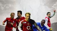 Ilustrasi - Dirk Kuyt,Ruud van Nistelrooy, Dennis Bergkamp, Hasselbaink, Robin van Persie (Bola.com/Adreanus Titus)