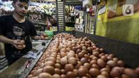 Pedagang menata telur ayam ras di salah satu stan Pasar Kebayoran Lama, Jakarta, Selasa (29/12/2020). Dinas KPKP Provinsi DKI Jakarta menyiapkan operasi pasar guna mengendalikan harga pangan, salah satunya telur ayam yang mengalami kenaikan jelang Tahun Baru 2021. (Liputan6.com/Johan Tallo)