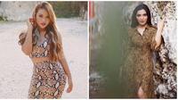 Gaya Ashanty dan Aurel Hermansyah Saat Memakai Baju Motif Ular (sumber:Instagram/aurelie.hermansyah dan ashanty_ash)