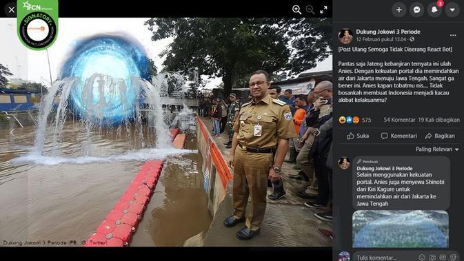 Gambar Tangkapan Layar Klaim Anies Baswedan Pindahkan Air dari Jakarta ke Jateng (sumber: Facebook)