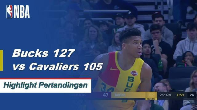 Giannis Antetokounmpo skor 26 poin 10 rebound untuk mengangkat ke Milwaukee Bucks atas Cleveland Cavaliers 127-105.