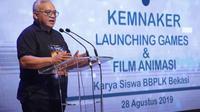 Kementerian Ketenagakerjaan meluncurkan film animasi dan games karya siswa pelatihan dari Balai Besar Pengembangan Latihan Kerja (BBPLK) Bekasi.