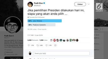Fadli Zon membuka polling pilpres di Twitter, hasilnya mengagetkan.