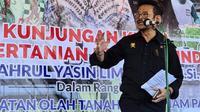 Mentan Syahrul Yasin Limpo melakukan kunjungan ke Kabupaten Cilacap dalam rangka Gerakan Percepatan Tanam MT II, Sabtu (13/6/2020). (Dok Kementan)