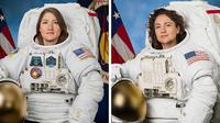 Dua astronaut wanita Amerika Serikat (AS), Christina Koch (kiri) dan Jessica Meir, menuntaskan aktivitas spacewalkdi luar Stasiun Antariksa Internasional pada 15 Januari 2020. (NASA)