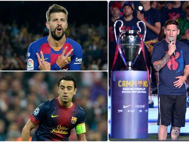 Lionel Messi mejadi pemain yang meraih treble winner atau tiga trofi juara dalam semusim sebanyak dua kali. Selain Messi ada beberapa pemain lainnya yang pernah merasakan hal itu. Berikut Lionel Messi dan 5 pemain yang meraih treble winners dua kali di Barcelona. (kolase foto AFP)
