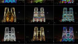 """Kombinasi gambar pada 21 Oktober 2018 menunjukkan Gereja Katedral Notre Dame selama pertunjukan cahaya berjudul """"Dame de Coeur"""" di Paris, Prancis. Pertunjukan cahaya tersebut bagian dari perayaan seratus tahun Perang Dunia I. (Photo by Ludovic MARI /AFP)"""