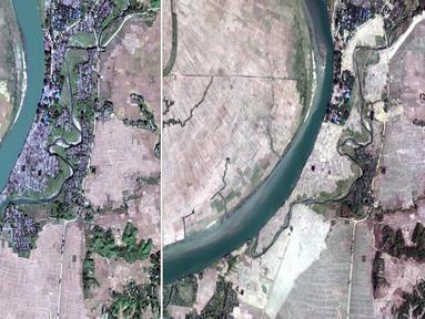 Citra satelit DigitalGlobe pada 2 Desember 2017 (kiri) dan 5 Februari 2018 (kanan) di Desa Myar Zin, sekitar 30 kilometer (19 mil) utara Maungdaw, Rakhine, Myanmar.  Sebagian besar desa Rohingya telah diratakan oleh pihak berwenang. (DigitalGlobe via AP)