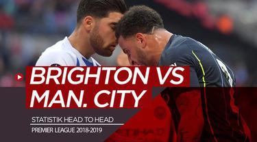 Berita video statistik head to head jelang laga Brighton & Hove Albion melawan Manchester City pada pekan terakhir Premier League 2018-2019 di The American Express Community Stadium, Minggu (12/5/2019).