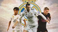 Real Madrid - Takefusa Kubo, Gareth Bale, Martin Odegaard (Bola.com/Adreanus Titus)