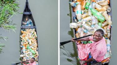 Pria Disabilitas Bersihkan Sampah di Sungai Selama Bertahun-tahun Pakai Perahu, Kisahnya Viral