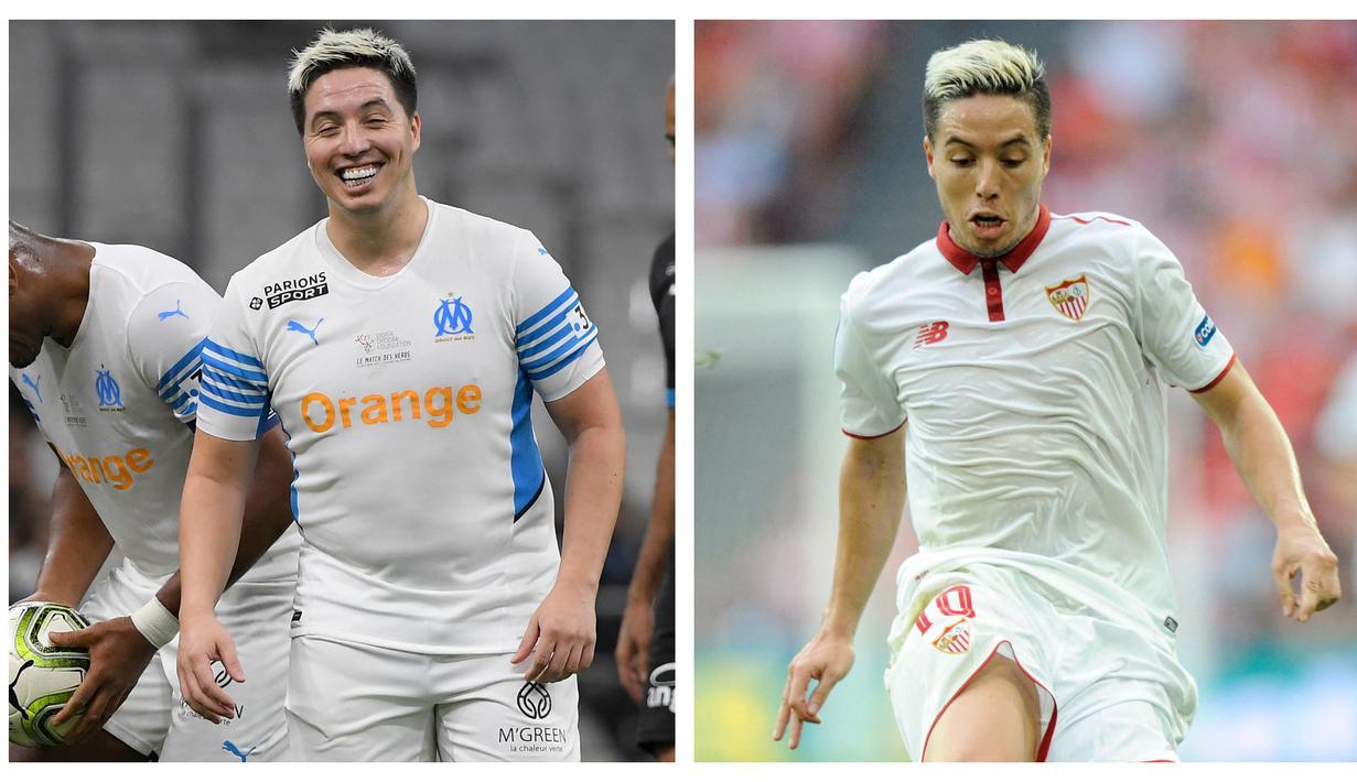 Foto kolase saat Samir Nasri dengan tubuh tambun saat bermain dalam pertandingan amal (kiri) dan Samir Nasri saat membela Sevilla sebelum ia pensiun (kanan). (AFP)
