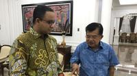 Ada pertemuan JK dengan Anies sebelum orang nomor satu di Jakarta itu dilantik di Istana Negara. (Liputan6.com/Putu Merta SP)