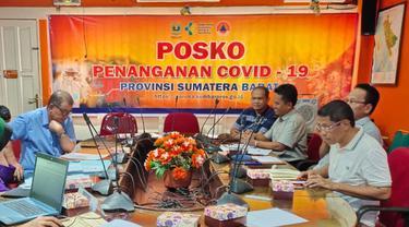 Rapat koordinasi gugus tugas penanganan virus corona Covid-19 Provinsi Sumbar.