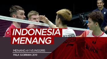 Berita video Tim Indonesia meraih kemenangan 4-1 atas Inggris pada pertandingan pertama Piala Sudirman 2019, Minggu (19/5/2019).