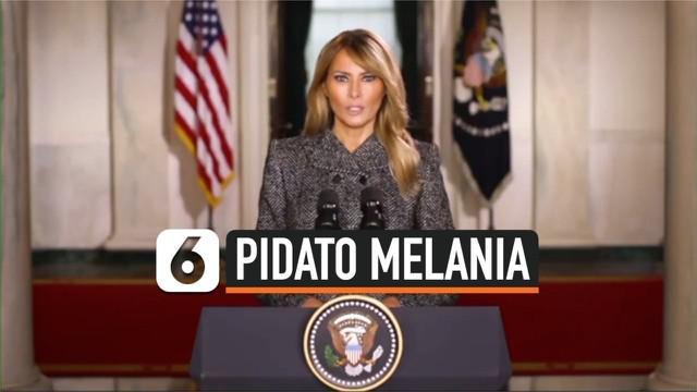 Ibu negara Melania Trump menyampaikan pidato perpisahan kepada warga Amerika Serikat melalui rekaman video yang diunggah di Twitter pada Senin (18/1) waktu setempat.