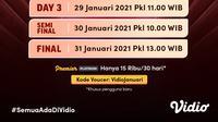 Live streaming pertandingan BWF World Tour Finals 2020, 27-31 Januari 2021 dapat disaksikan melalui platform Vidio. (Dok. Vidio)