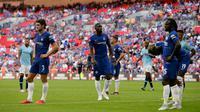 Ekspresi pemain Chelsea usai kalah melawan Manchester City dalam Community Shield di Wembley, London, Inggris, Minggu (5/8). Manchester City menang 2-0. (AP Photo/Tim Ireland)