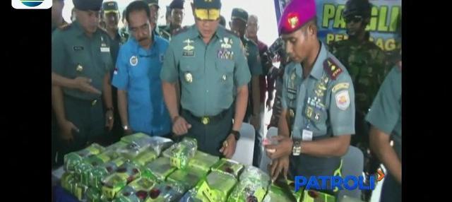 Penyelundupan sabu seberat 67,4 kg digagalkan petugas Patroli Komando Armada I Lanal Lhokseumawe Aceh, yang diduga dibawa dari Malaysia.