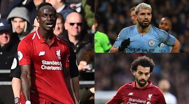 Sadio Mane lambat laun meramaikan pentas perebutan menjadi pencetak gol terbanyak Premier League. Penyerang Liverpool tersebut memiliki gol yang sama dengan Mohamed Salah dengan 17 gol. (Kolase Foto AFP)